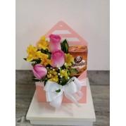 Envelope mix de flores e chocolate chocolas