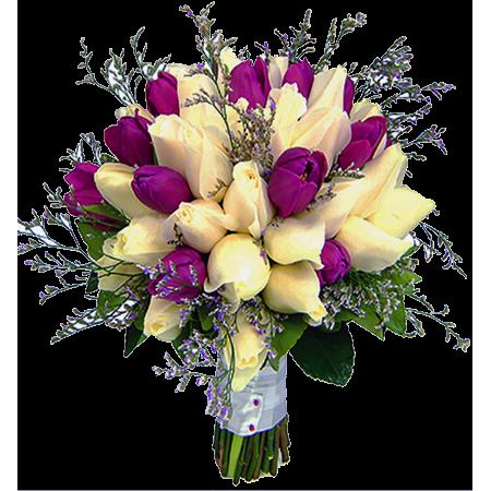 Buquê de noiva com tulipas e rosas