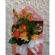 Envelope flores e chocolate