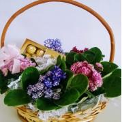 cesta de flores com bombom