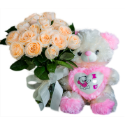 Kit Buquê de rosas claras e ursinho de pelúcia
