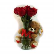 Buquê com 7 Rosas e Urso de Pelúcia
