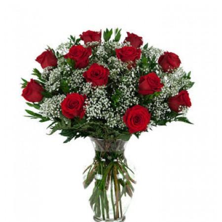 Buquê 12 rosas importadas em vaso de vidro