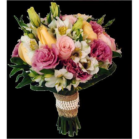 Buquê de noiva com rosas, lisianthus e alstroemerias