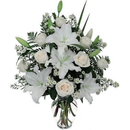 Buquê Paz com flores brancas em peça de vidro