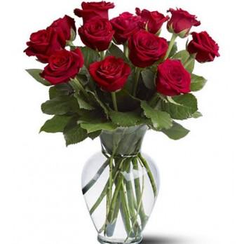 Buquê  12  rosas vermelhas importadas