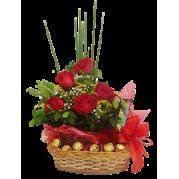 cesta de rosas vermelhas  com ferrero rocher