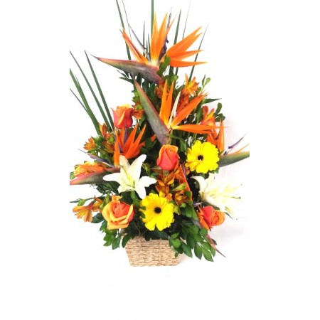 Arranjo mix de flores em cachepot